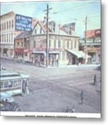 Trade And Tryon Street 1900 Metal Print by Charles Roy Smith