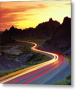 Traffice On Highway, Sunset (long Exposure) Metal Print