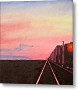 Train At Sundown Metal Print