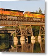 Train Over Water Metal Print