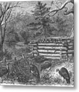 Trapping Wild Turkeys, 1868 Metal Print