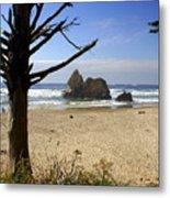 Tree And Ocean Metal Print