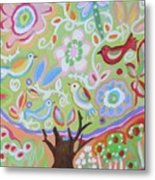 Tree Of Life With Dragonfly Metal Print