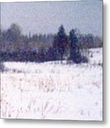 Trees By The Snow Field Ae Metal Print