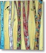 Trees On Yellow Metal Print by Karla Gerard