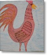 Tribute To A Mean Rooster Metal Print