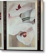Triptic White Orchids On Light Background Metal Print