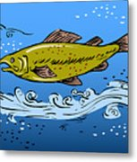 Trout Fish Swimming Underwater Metal Print by Aloysius Patrimonio