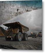 Trucks Hauling Waste Rock At Batu Metal Print by Randy Olson