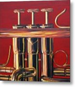 Trumpet In Red Metal Print