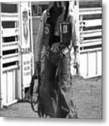 Try Again Cowboy Black And White Metal Print by Andrea Arnold