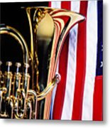 Tuba And American Flag Metal Print by Garry Gay