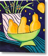 Tulips And 3 Yellow Pears Metal Print