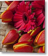 Tulips And Red Daisies  Metal Print