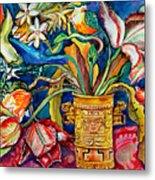 Tulips In Mexican Vase Metal Print
