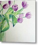 Tulips In Purple Metal Print by Julie Lueders