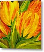 Tulips Parrot Yellow Orange Metal Print