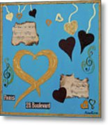 Turquoise Boutique Hearts Metal Print