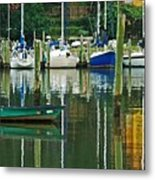 Turquoise Workboat In The Colorful Harbor Metal Print