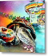 Turtle Slide Metal Print