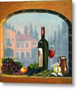 Tuscan Arch Wine Grape Feast Metal Print by Italian Art