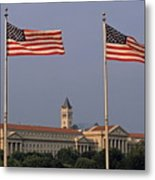 Two American Flags With Old Post Office Building Metal Print