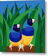 Two Birds Sharing A Branch Metal Print