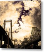 Two Bridges One Moon Metal Print