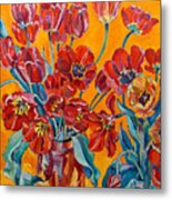 Two Bunches Of Red Tulips Metal Print