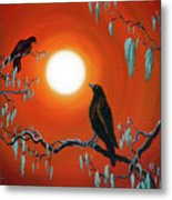 Two Crows On Mossy Branches Metal Print