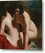 Two Girls Bathing Metal Print