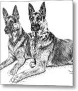 Two Of A Kind - German Shepherd Dogs Print Metal Print by Kelli Swan