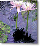 Two Pink Lilies In The Rain Metal Print