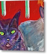 Two Posh Cats Metal Print