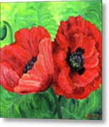 Two Red Poppies Metal Print