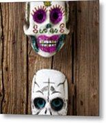 Two Skull Masks Metal Print