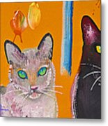 Two Superior Cats With Wild Wallpaper Metal Print
