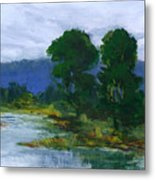 Two Trees In The Bay Land Metal Print