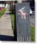 Unicorn Mail Delivery Metal Print