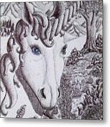 Unicorn On Vacation Metal Print