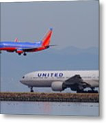 United Airlines And Southwest Airlines Jet Airplane At San Francisco International Airport Sfo.12087 Metal Print
