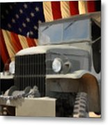 United States Army Truck And American Flag  Metal Print