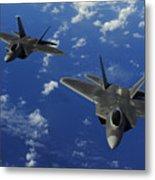 U.s. Air Force F-22 Raptors In Flight Metal Print