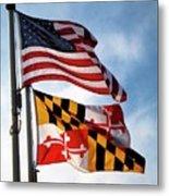 Us And Maryland Flags Metal Print
