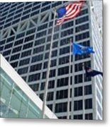 Us Bank With Flags Metal Print