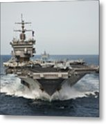 Uss Enterprise Transits The Atlantic Metal Print by Stocktrek Images