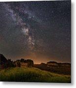 Valley Road Homestead Under A Milky Way Metal Print