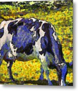 Van Gogh.s Starry Blue Cow . 7d16140 Metal Print