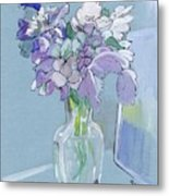 Vase Of Flowers In The Sun Metal Print