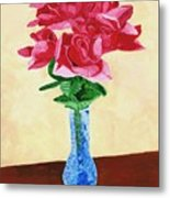Vase Of Red Roses Metal Print